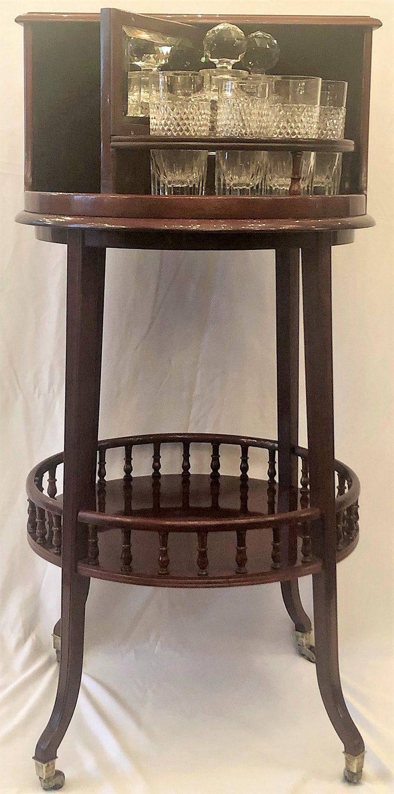19th Century Antique English Mahogany Revolving Hidden Bar by
