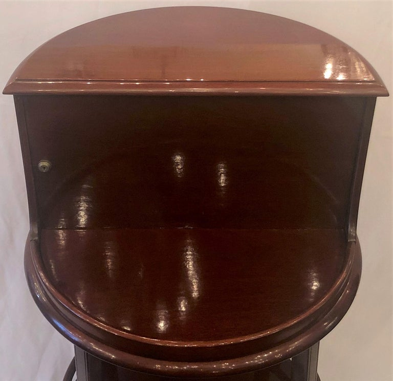 Crystal Antique English Mahogany Revolving Hidden Bar by