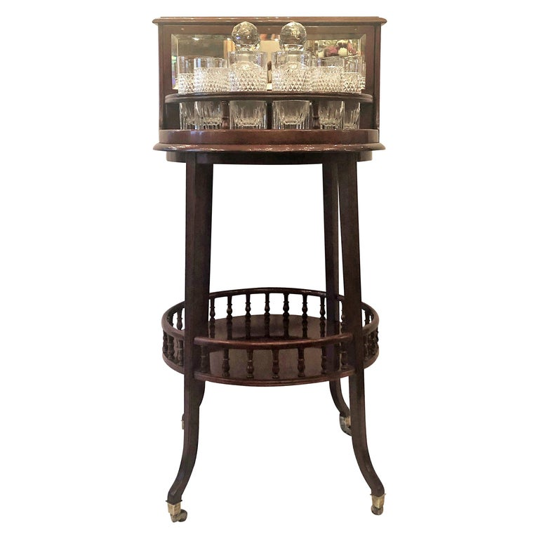 "Antique English Mahogany Revolving Hidden Bar by ""Halstaff and Co."", circa 1880s For Sale"