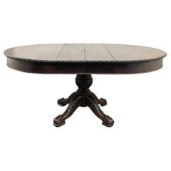 Antique English Mahogany Round Dining Table with 2 Leaves