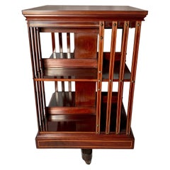 Antique English Mahogany Satinwood Inlaid Revolving Bookstand