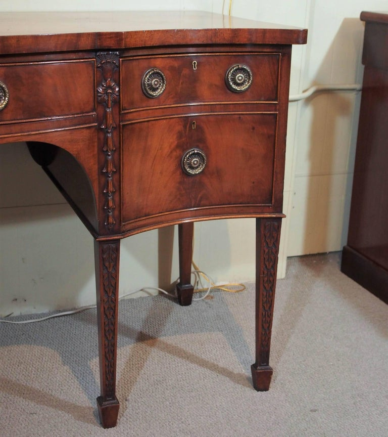 Georgian Antique English Mahogany Serpentine Sideboard For Sale