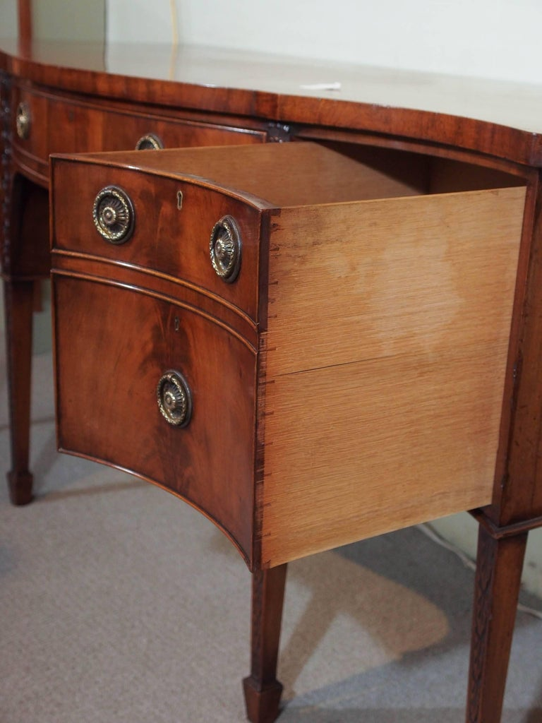Antique English Mahogany Serpentine Sideboard For Sale 1