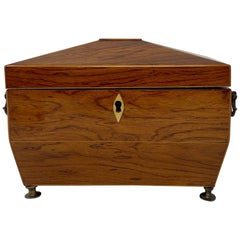 Antique English Mahogany Tea Caddy, circa 1820-1840