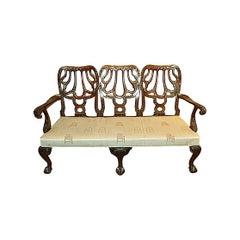 Antique English Mahogany Triple Back Settee, circa 1850-1870