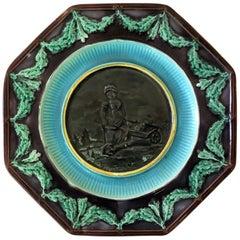 Antique English Majolica Plate Woman with Wheelbarrow, circa 1890