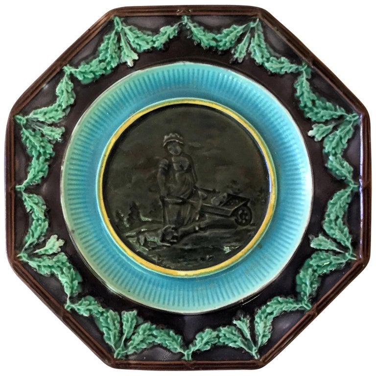 Antique English Majolica Plate Woman with Wheelbarrow, circa 1890 For Sale