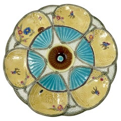 """Antique English Majolica Porcelain Oyster Plate Signed """"S. Fielding,"""" Circa 1900"""