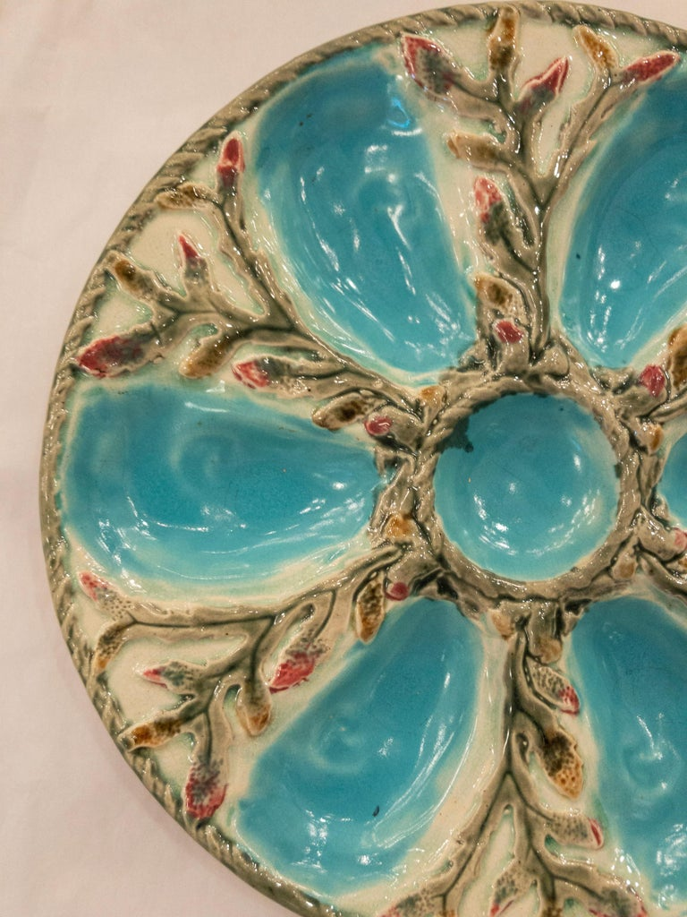 Late 19th century antique English Majolica porcelain oyster plate signed