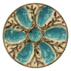 "Antique English Majolica Porcelain Oyster Plate Signed ""S. Fielding & Co."""