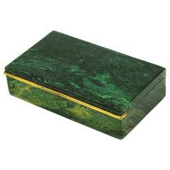 Antique English Malachite Gilt Sterling Cigarette Jewelry Box George Betjemann