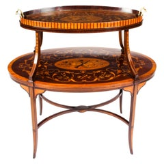 Antique English Marquetry Etagere Tray Table, 19th Century