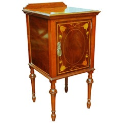 Antique English Marquetry Inlaid Mahogany Bedside / Chair-Side Cabinet