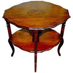 """Antique English Marquetry Inlaid Oblong Occasional Table, """"Signed"""" W Boyes & Co."""