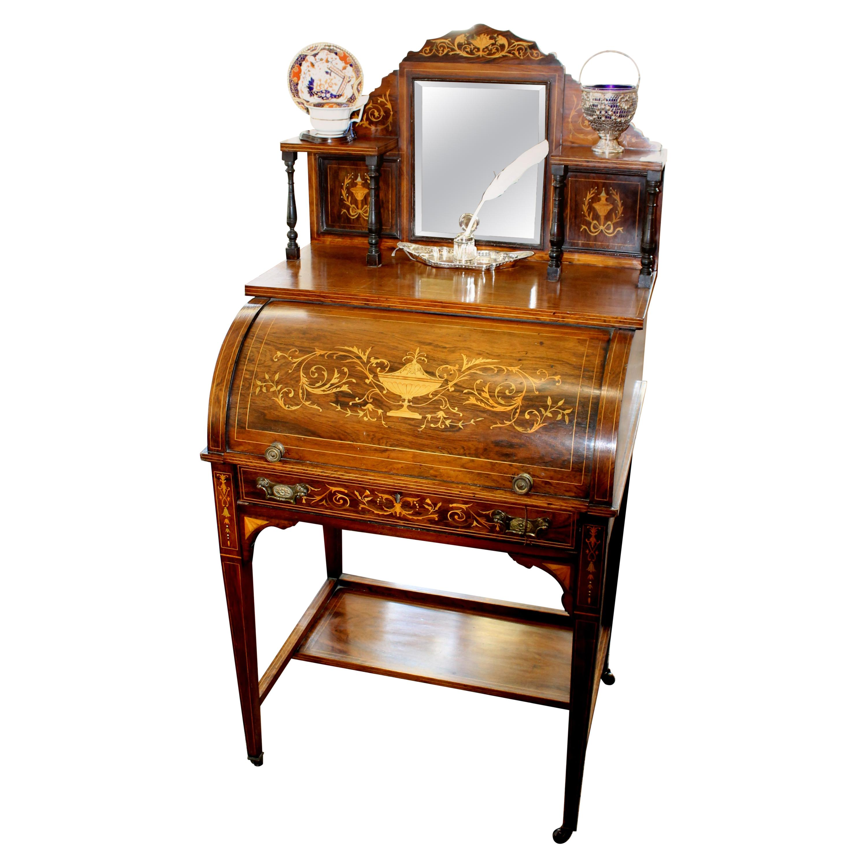 Antique English Marquetry Inlaid Rosewood Cylinder-Top Ladies Writing Desk