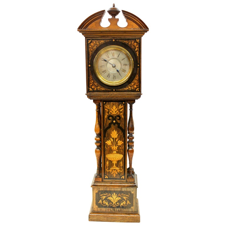 """Antique English Marquetry Inlaid Rosewood Miniature """"Grandfather"""" Mantle Clock For Sale"""