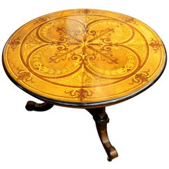 Antique English Marquetry Inlaid Specimen or Centre Table, Aesthetic Movement