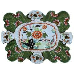 "Antique English Mason's Ironstone ""Green Imari"" Rare Shape Dessert Dish"