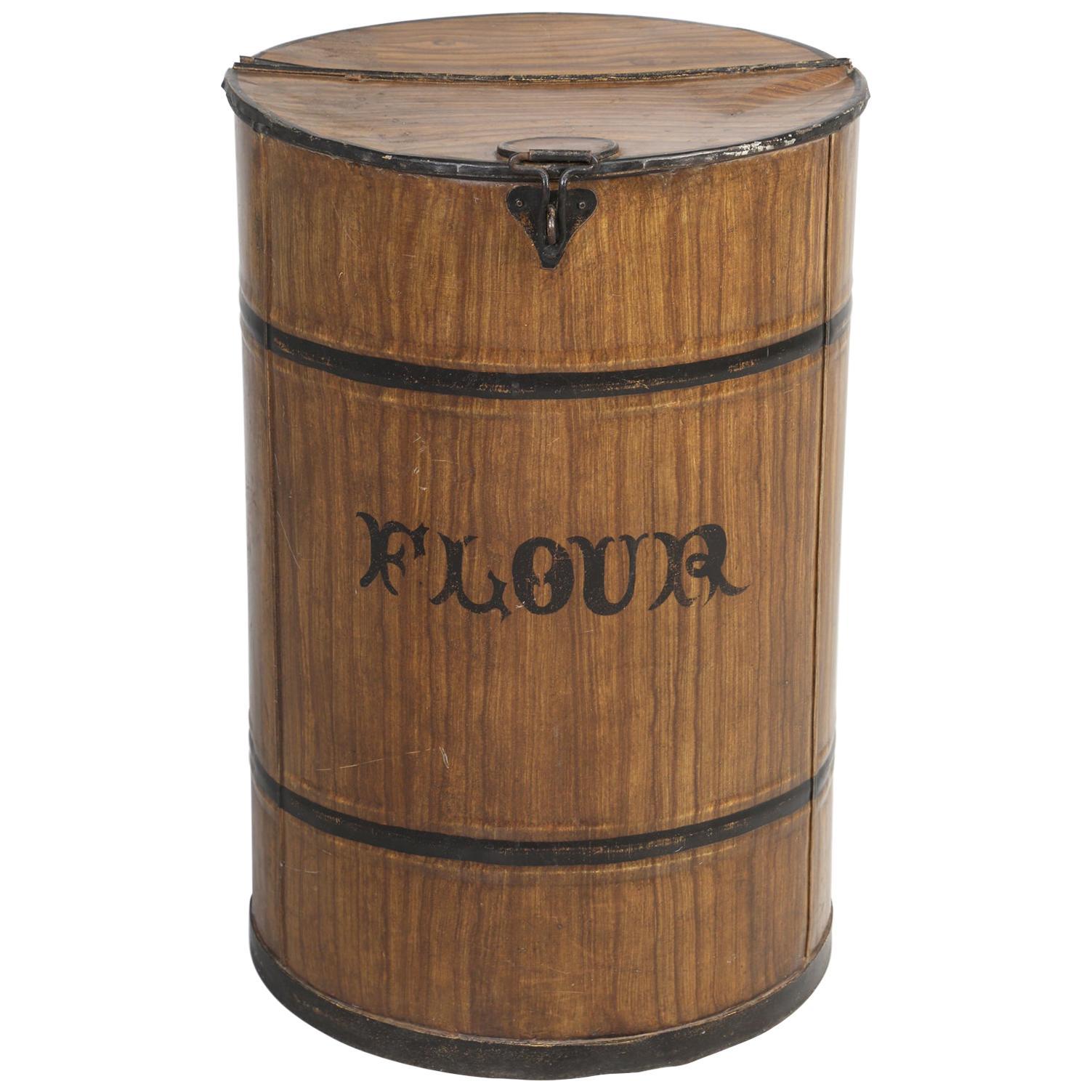 "Antique English Mercantile or Bakery ""Flour"" Bin, in Original Faux Grain Paint"