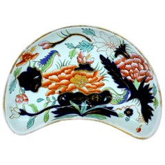 Antique English Mid-19th Century Ashworth's Ironstone Imari Crescent Shape Dish