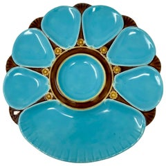 Antique English Minton Majolica Hand-Painted Porcelain Oyster Plate, Circa 1875