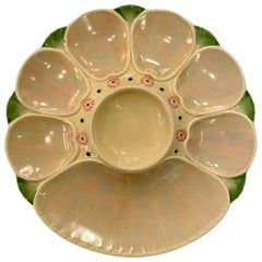 Antique English Minton Majolica Porcelain Oyster Plate with Cracker Well