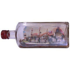 Antique English Model Sailing Ship in a Square Glass Bottle, circa 1880