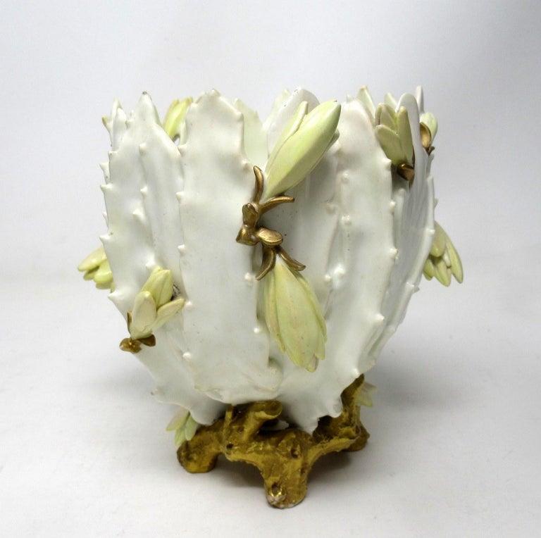 Victorian Antique English Moore Brothers Porcelain Cream Gilt Jardiniere Centerpiece