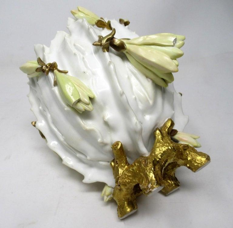 Antique English Moore Brothers Porcelain Cream Gilt Jardiniere Centerpiece 1