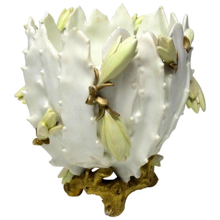 Antique English Moore Brothers Porcelain Cream Gilt Jardiniere Centerpiece
