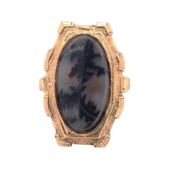 Antique English Moss Agate 14K Yellow Gold Ring