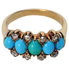 Antique English Natural Turquoise Diamond Yellow Gold Ring