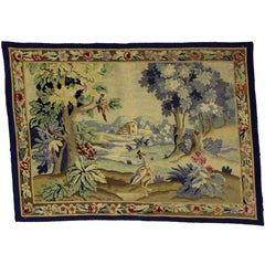 Antique English Needlepoint Aubusson Verdure Garden Tapestry Wall Hanging