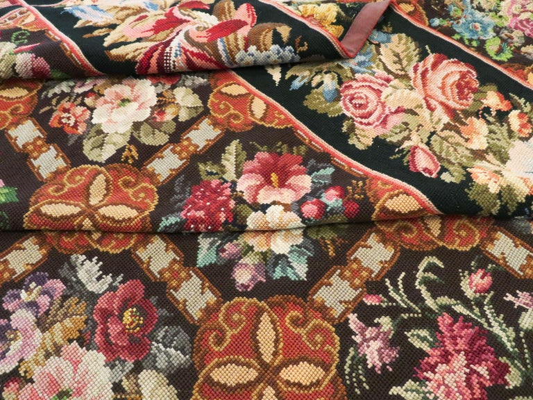 Antique English Needlepoint Carpet For Sale 8