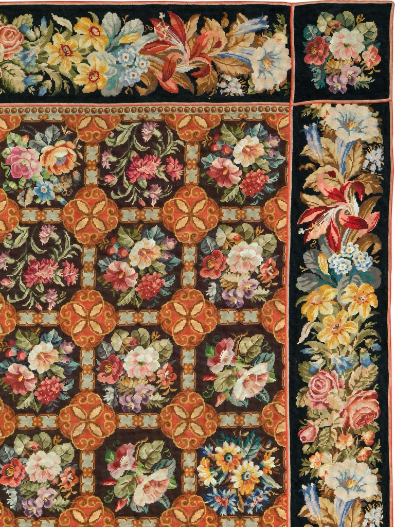 Victorian Antique English Needlepoint Carpet For Sale
