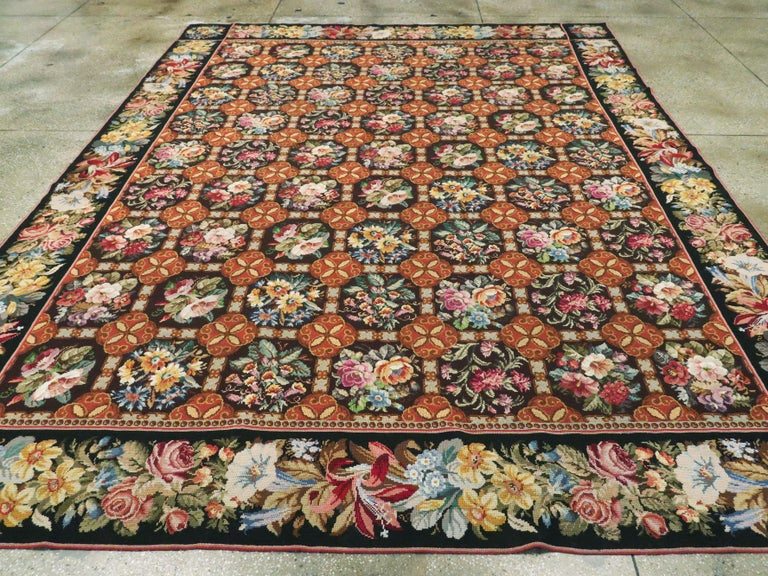 20th Century Antique English Needlepoint Carpet For Sale