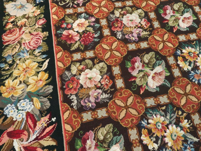 Wool Antique English Needlepoint Carpet For Sale