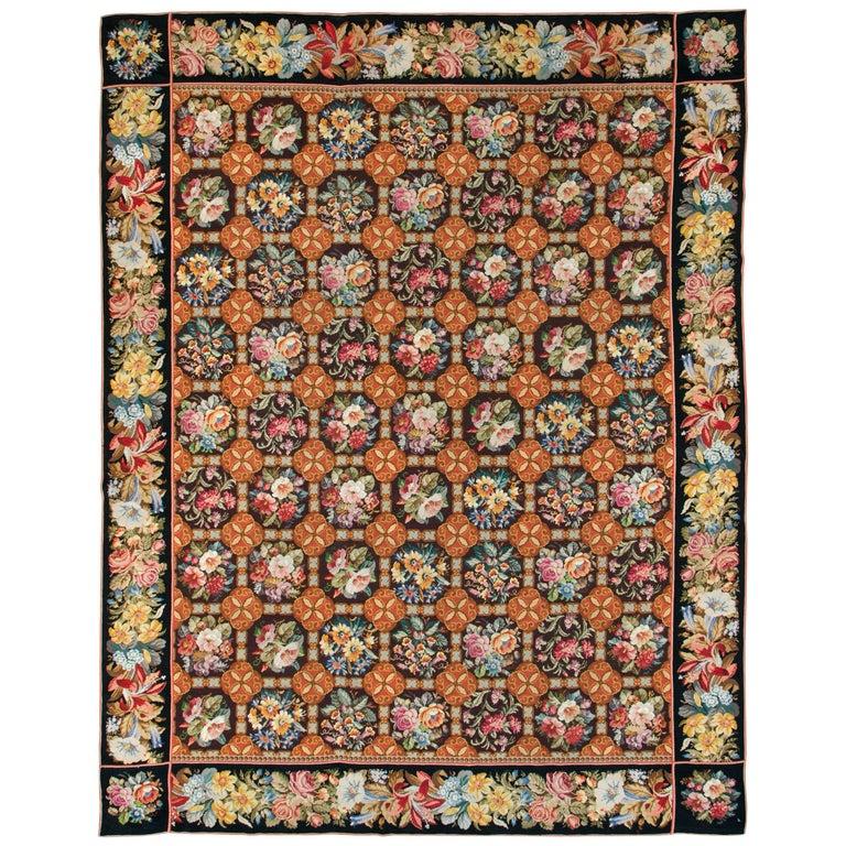 Antique English Needlepoint Carpet For Sale