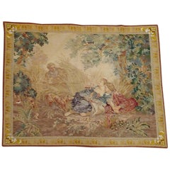 Antique English Needlepoint Tapestry Copy of Les Amants Surpris Wool, 1900