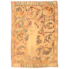 Antique English Needlepoint Tapestry / Rug. Size: 4 ft 4 in x 6 ft 6 in