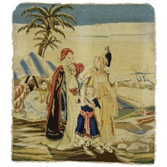 Antique English Needlepoint Tapestry with Ottoman Style, Arabian Wall Hanging