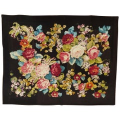 Antique English Needlepoint, Victorian Style, Floral On Black, Wool, 1900
