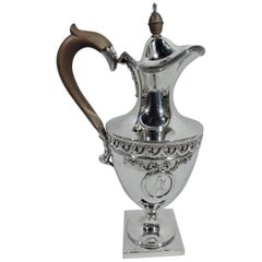 Antique English Neoclassical Revival Sterling Silver Ewer by Crichton