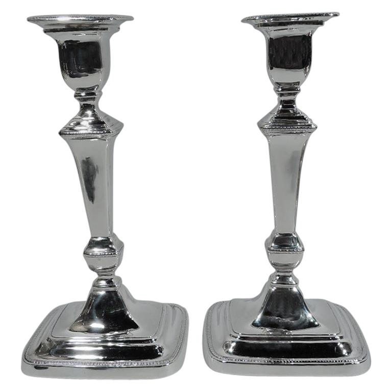 Antique English Neoclassical Sterling Silver Candlesticks