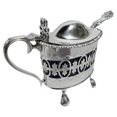 Antique English Neoclassical Sterling Silver Mustard Pot with Spoon