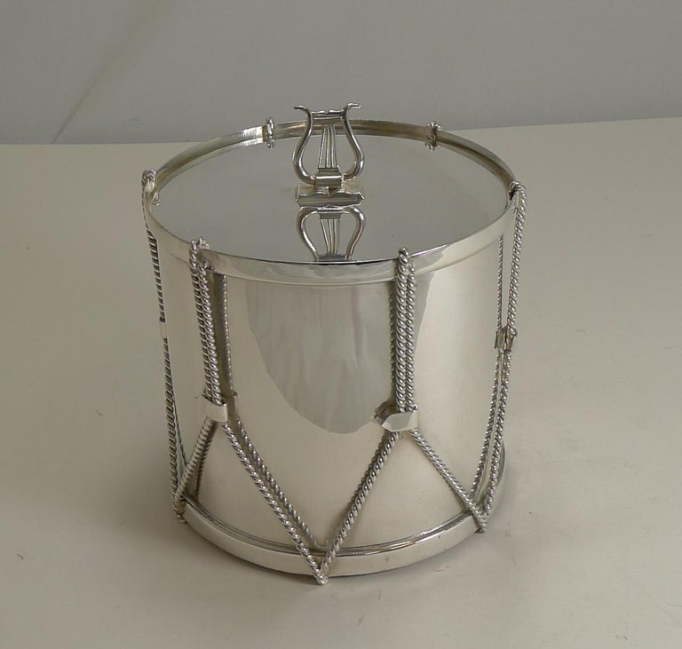 Late Victorian Antique English Novelty Biscuit Box Drum by Mappin & Webb, circa 1890 For Sale