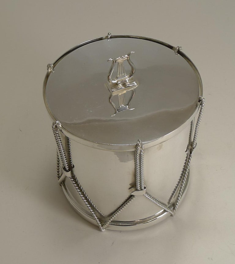 Antique English Novelty Biscuit Box Drum by Mappin & Webb, circa 1890 In Good Condition For Sale In London, GB
