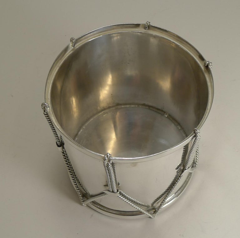 Late 19th Century Antique English Novelty Biscuit Box Drum by Mappin & Webb, circa 1890 For Sale