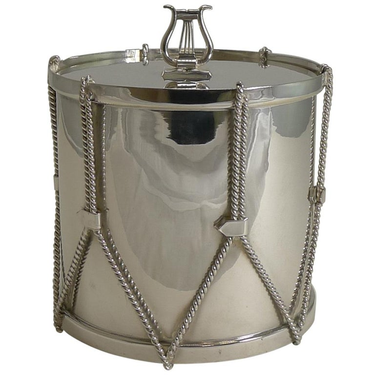 Antique English Novelty Biscuit Box Drum by Mappin & Webb, circa 1890 For Sale