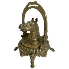Antique English Novelty Equestrian Inkwell, Horse, circa 1880